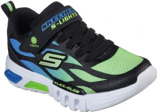 Skechers Kids 400016L BBLM Blue Lime S Lights Flex Glow DezloTrainers